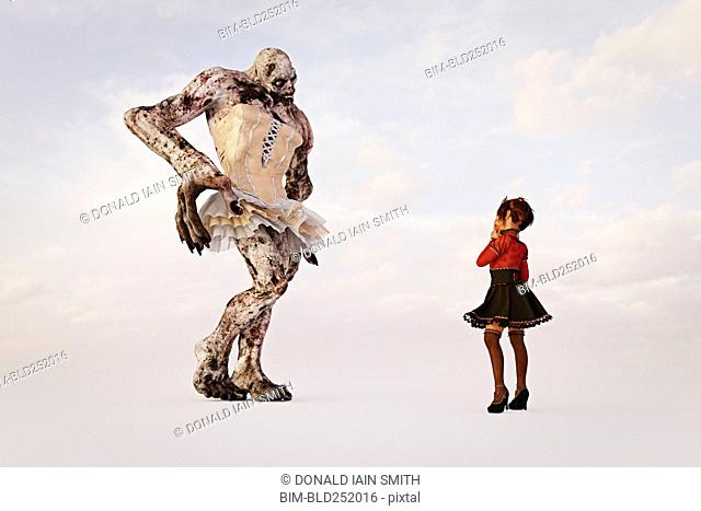 Girl examining alien wearing dress