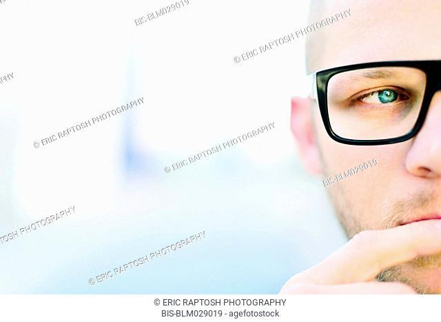 Caucasian man wearing eyeglasses