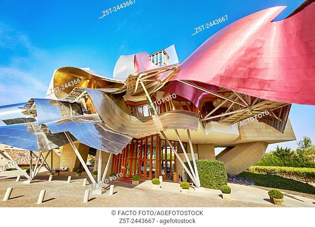 The Hotel Marqués de Riscal, A Luxury Collection Hotel by architect Frank O. Gehry. Elciego. Rioja alavesa wine route. Alava. Basque country. Spain