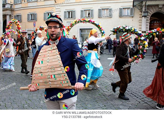 Rome, Italy. 26th February 2014. Carnival time - La Zeza di Mercogliano group performing at Piazza della Minerva Square in Rome Italy