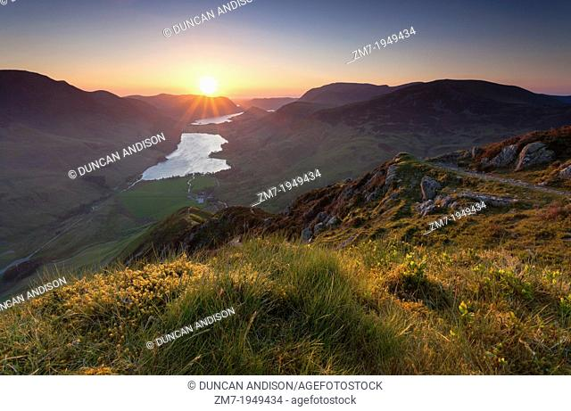 A view of Buttermere at sunset, from the summit of Fleetwith Pike in the Lake District