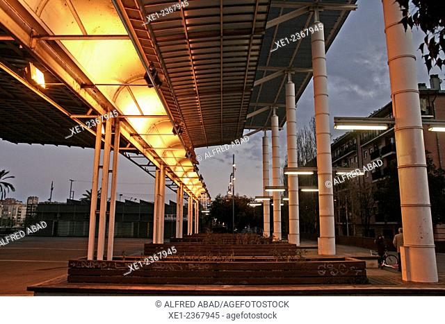 Pergola, sunset, Baró de Viver district, Barcelona, Catalonia, Spain
