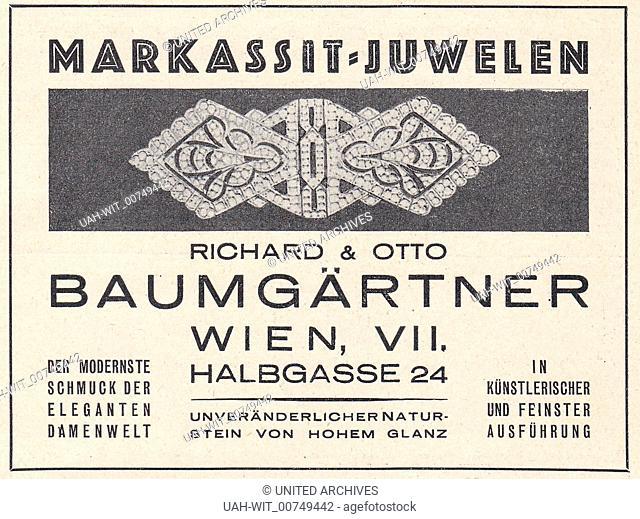 """Werbeanzeige für die Markasit Juwelen der Juweliere Richard und Otto Baumgärtner in Wien. Aus dem Programmheft der Staatsoper Wien zur Aufführung """"""""Lohengrin""""""""..."""