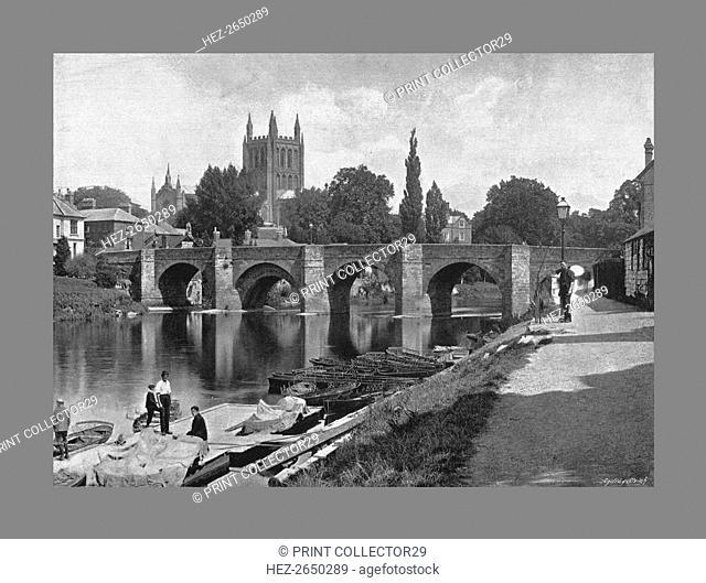 Hereford Cathedral and Wye Bridge, c1900. Artist: J Thirwall