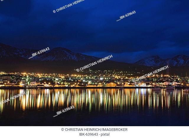 Skyline from Ushuaia, most southerly town of the world, at night, Tierra del Fuego, Argentina, South America