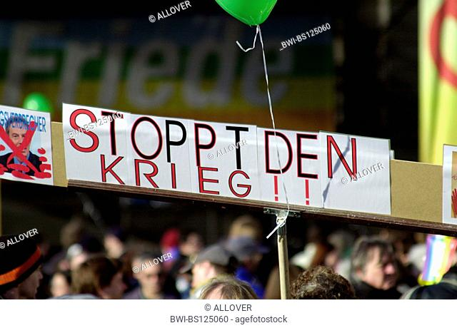 peace demonstration, poster with the signature stop the war, Austria, Vienna