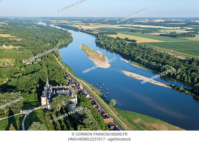 France, Loir et Cher, Chaumont sur Loire, Loire Valley listed as World Heritage by UNESCO, castles of the Loire, Chateau de Chaumont sur Loire (aerial view)