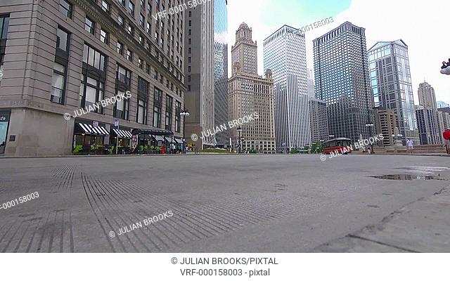 Chicago street scene, A bus driving along Wacker drive, extreme wide angle