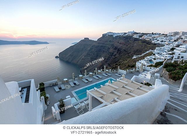 The Aegean Sea seen from the terrace of a resort built with typical Greek style Firostefani Santorini Cyclades Greece Europe