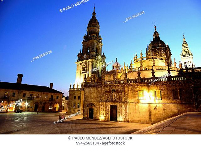 View of the cathedral from Quintana de Vivos square in Santiago de Compostela, Galicia, Spain