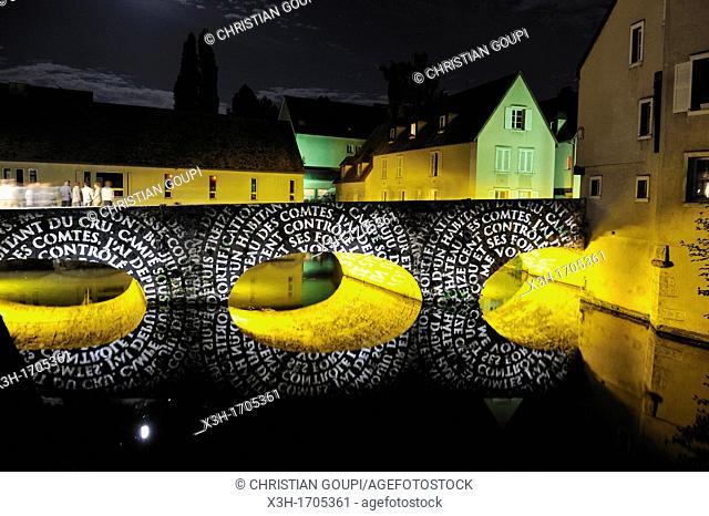 illumination of the Bouju bridge, Chartres, Eure-et-Loir department, Centre region, France, Europe
