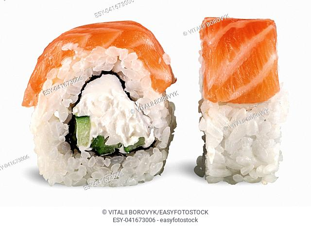 Two pieces of sushi roll of Philadelphia isolated on white background