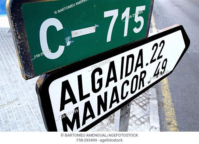 Road sign. Majorca, Balearic Islands. Spain