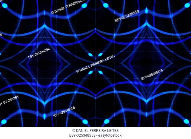 Futuristic high tech geometric networks background pattern in blue and black tones