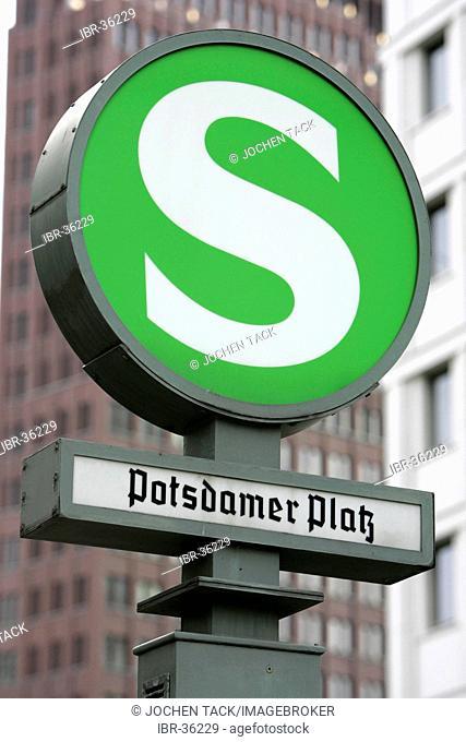 DEU, Germany, Berlin: Sign of S-Bahn railway station at the Potsdamer Platz Square