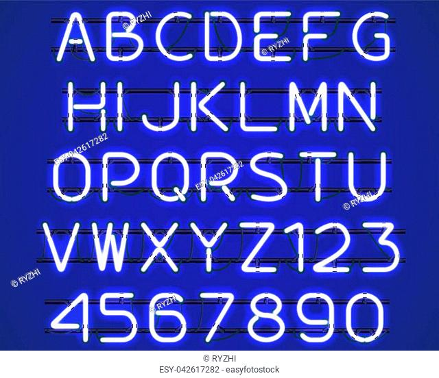 Glowing blue Neon Alphabet with letters from A to Z and digits from 0 to 9 with wires, tubes, brackets and holders. Shining and glowing neon effect