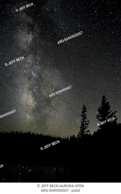 The Milky Way above Island Lake on a clear July night in the Uintah Mountains