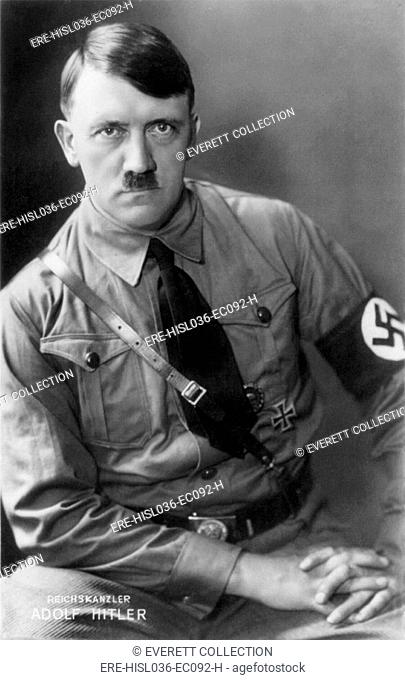 Adolf Hitler, in a military uniform, when he was Chancellor of Germany. Ca. 1933-1938. Photo by Heinrich Hoffmann. (BSLOC-2013-9-172)