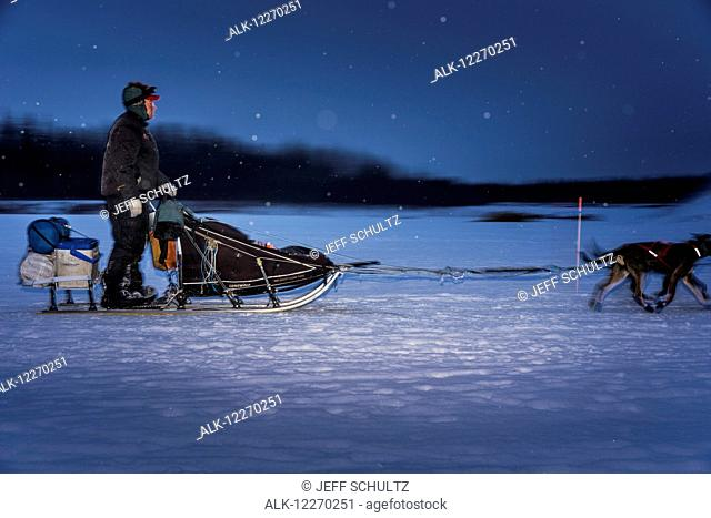 Ken Anderson leaves Nikolai at night during the 2014 Iditarod