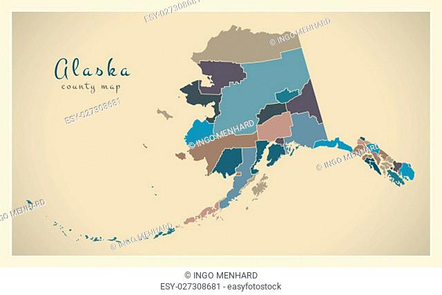 Modern Map - Alaska county map coloured states USA silhouette illustration