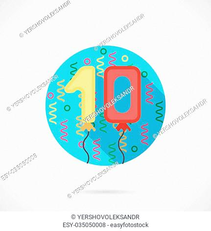 Air balloons form of numbers 10 and serpentine. Birthday party, funny invitations, anniversary events. Colorful round flat vector icon with long shadow