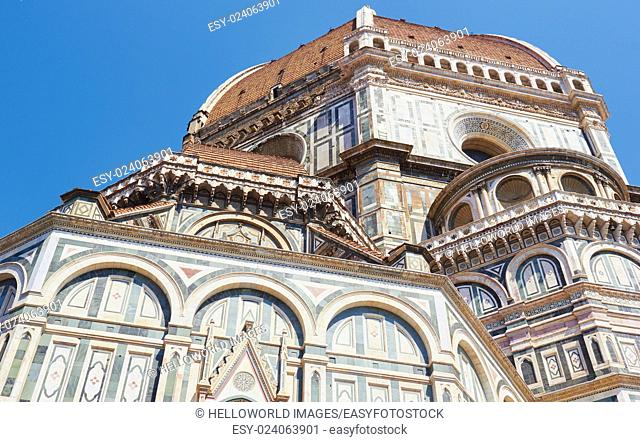Exterior architecture of Il Duomo Di Firenze, completed in 1436 with its huge dome by Filippo Brunelleschi, Florence, Tuscany, Italy, Europe