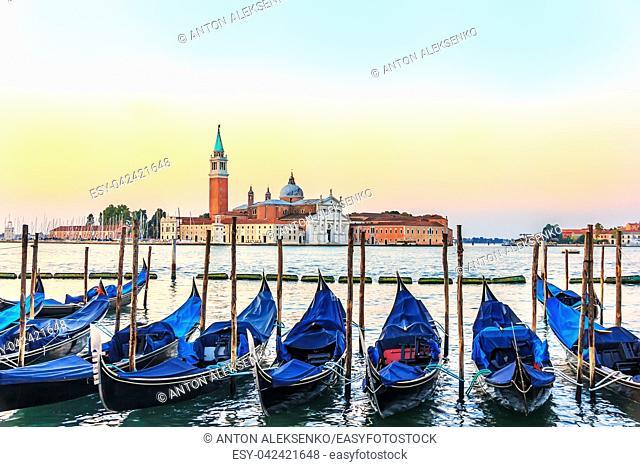 Venetian gondolas in front of San Giorgio Maggiore Island