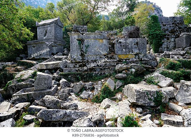 North Necropolis of Termessos. The unexcavated Pisidian city. Ancient Greece. Asia Minor. Turkey