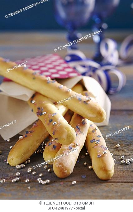 Sweet bread sticks with sugar sprinkles