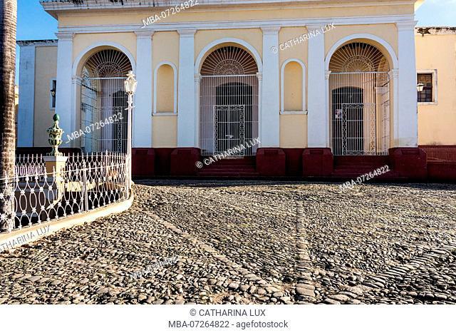 Cuba, Trinidad, UNESCO World Heritage Site, Trinity Church portal, Plaza Mayor