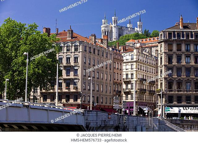 France, Rhone, Lyon, historical site listed as World Heritage by UNESCO, Quai de Bondy on Saone River banks with a view of the Notre Dame de Fourviere Basilica