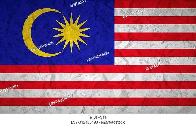 Flag of Malaysia with effect crumpled paper and grunge