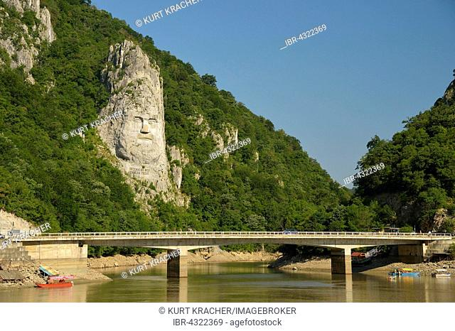 King Decebal monument carved into rock, view from the Danube cruise ship, Iron Gate, Djerdap National Park, the Kazan Engen, Serbia