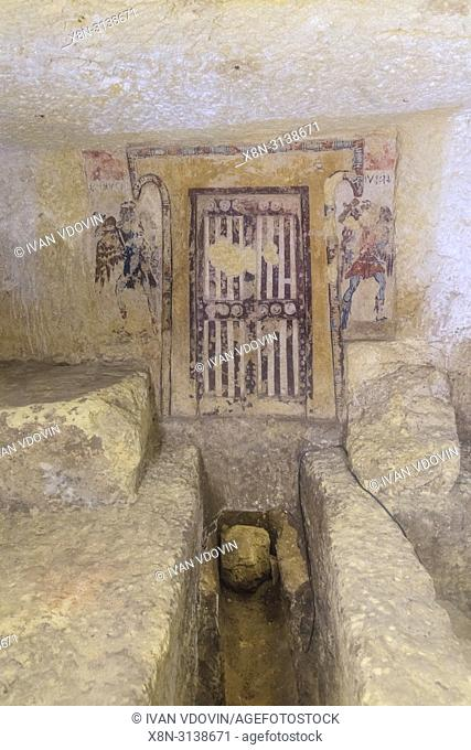Tomb interior, Monterozzi necropolis, Tarquinia, Lazio, Italy