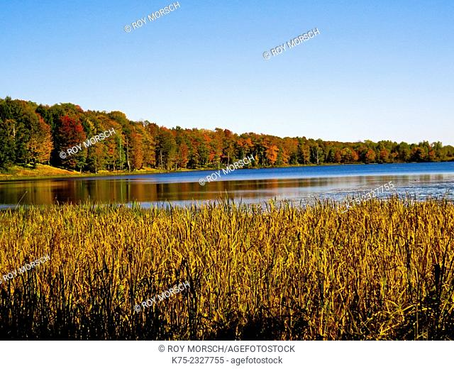 Colorful autumn scene on lake. Pocono Región, Pennsylvania, USA