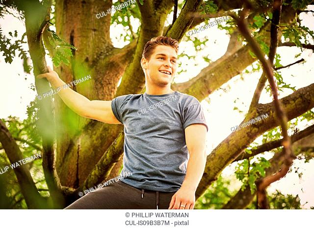 Man training in park, taking a break whilst climbing tree
