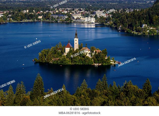 Slovenia, Gorenjska, Upper Carniola, Bled, Lake Bled, island Blejski Otok with Assumption of Mary Pilgrimage Church, view from Osojnica