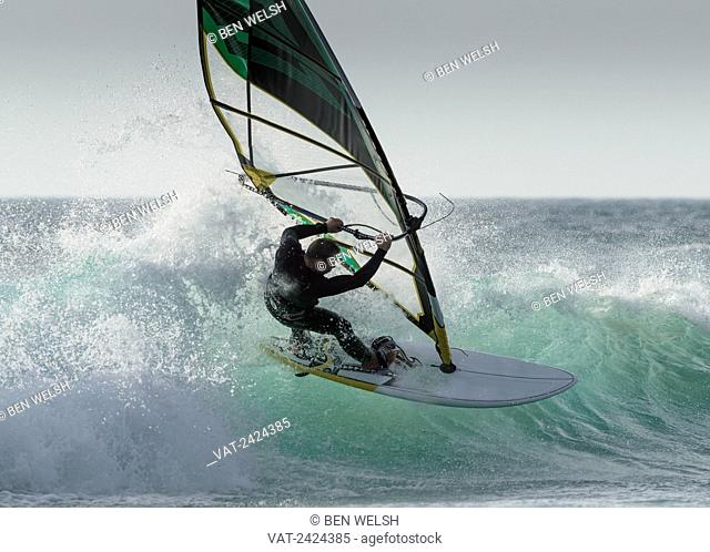 Windsurfing at Bolonia; Tarifa, Costa de la Luz, Cadiz, Andalusia, Spain