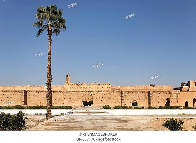 Huge inner courtyard and ruins of Palais El Badi, Marrakech, Morocco, Africa
