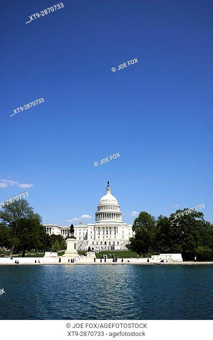 United States Capitol building and capitol reflecting pool Washington DC USA