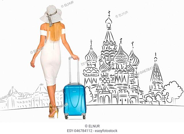 Young girl in concept of tourism to Russia