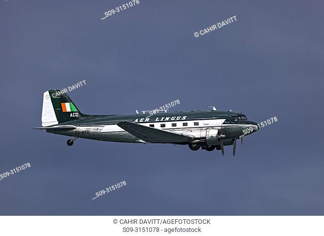The Irish Historical Flight Douglas DC 3 in vintage Aer Lingus livery flying over Bray, Co. Wicklow, Ireland