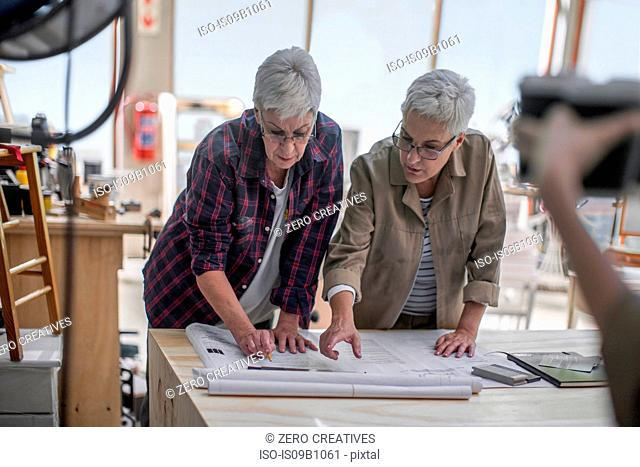 Female carpenters discussing blueprint in furniture making workshop