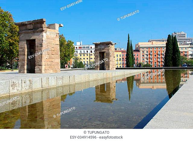 Madrid, Spain -Temple of Debod, Egyptian temple rebuilt. Ancient architecture