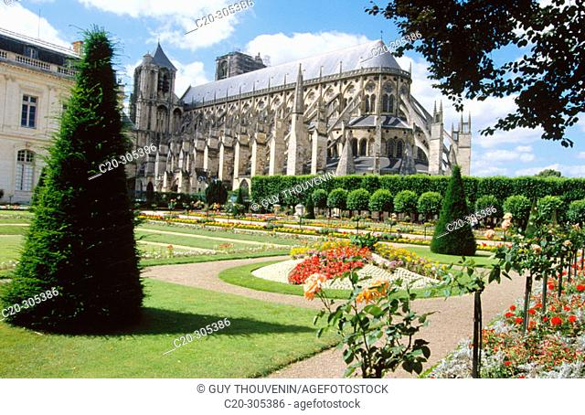 Archbishop's Gardens and Saint-Etienne Cathedral. Bourges. Cher. Centre. France