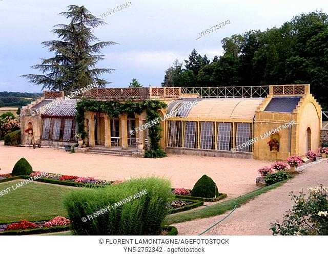 Garden and greenhouse of the castle of Digoine in Palinges, Burgundy, Saone et Loire (71)