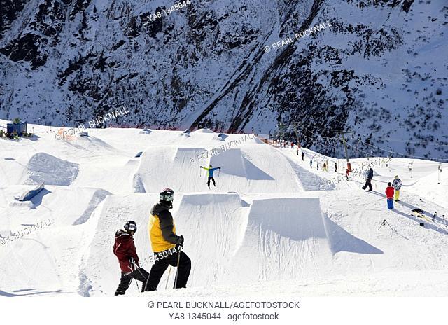 St Anton am Arlberg, Tyrol, Austria, Europe  Stanton Park funpark ski jumps on Rendl from above
