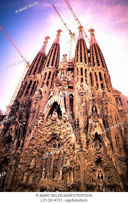 La Sagrada Familia Church. Designed by architect Antoni Gaudí. Eixample district, Barcelona, Catalonia, Spain