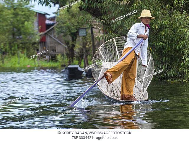 Burmese fisherman at Inle lake Myanmar