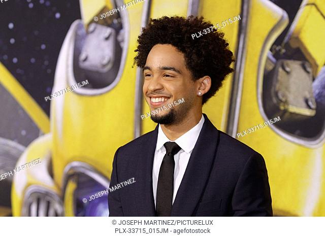 """Jorge Lendeborg Jr. at the Premiere of Paramount Pictures' """"""""Bumblebee"""""""" held at the TCL Chinese Theatre in Hollywood, CA, December 9, 2018"""